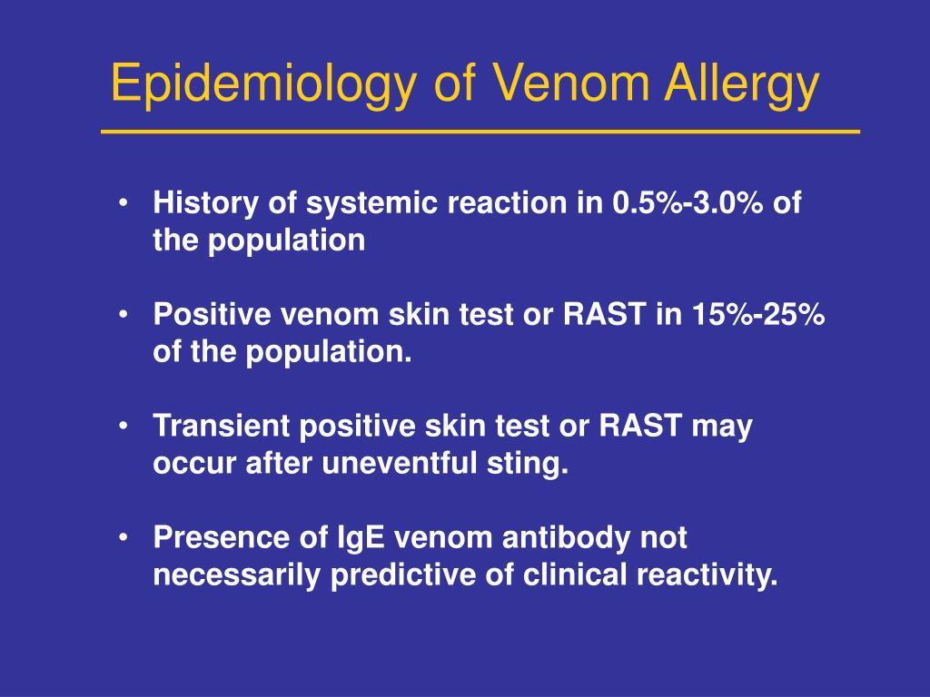 Epidemiology of Venom Allergy