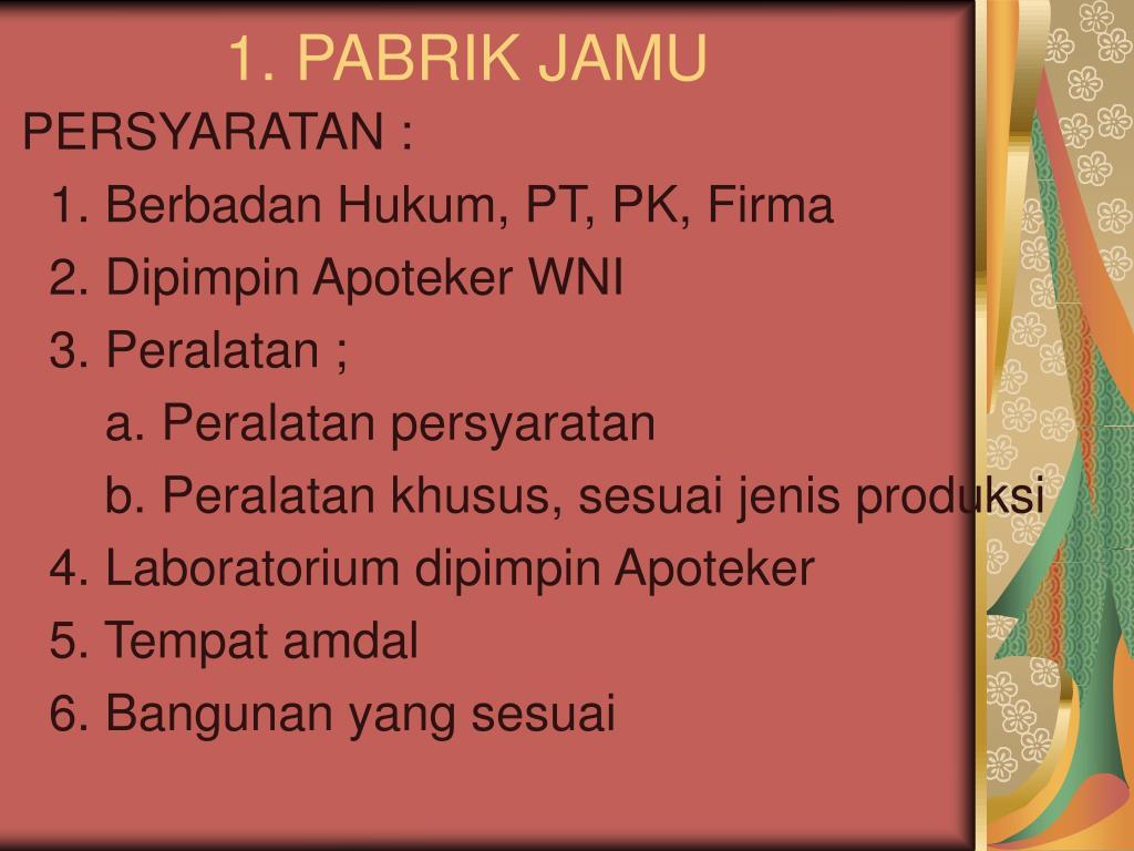 1. PABRIK JAMU