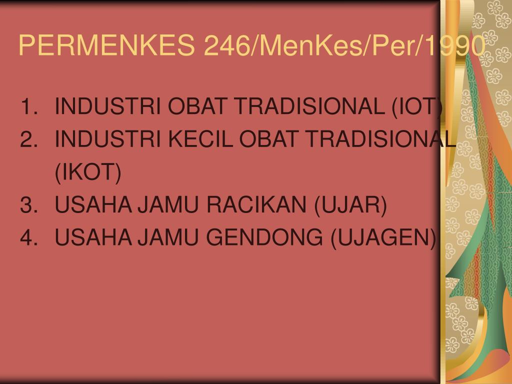 PERMENKES 246/MenKes/Per/1990