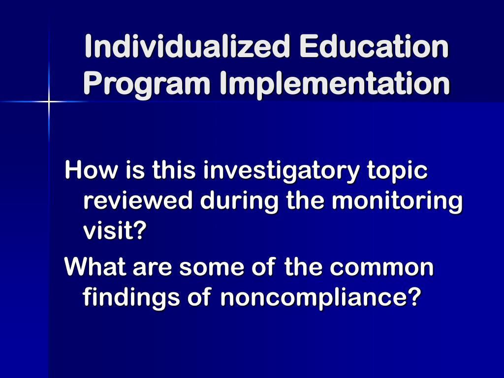 Individualized Education Program Implementation