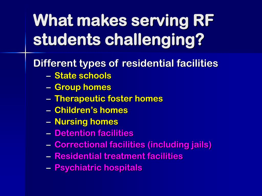 What makes serving RF students challenging?