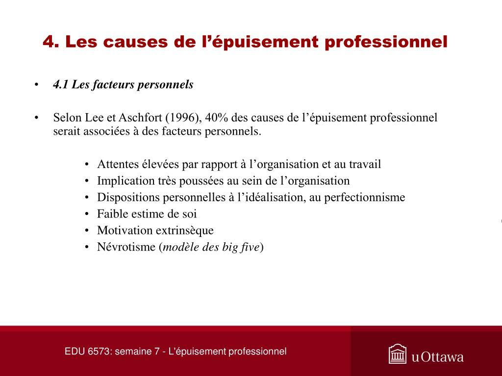 4. Les causes de l'épuisement professionnel