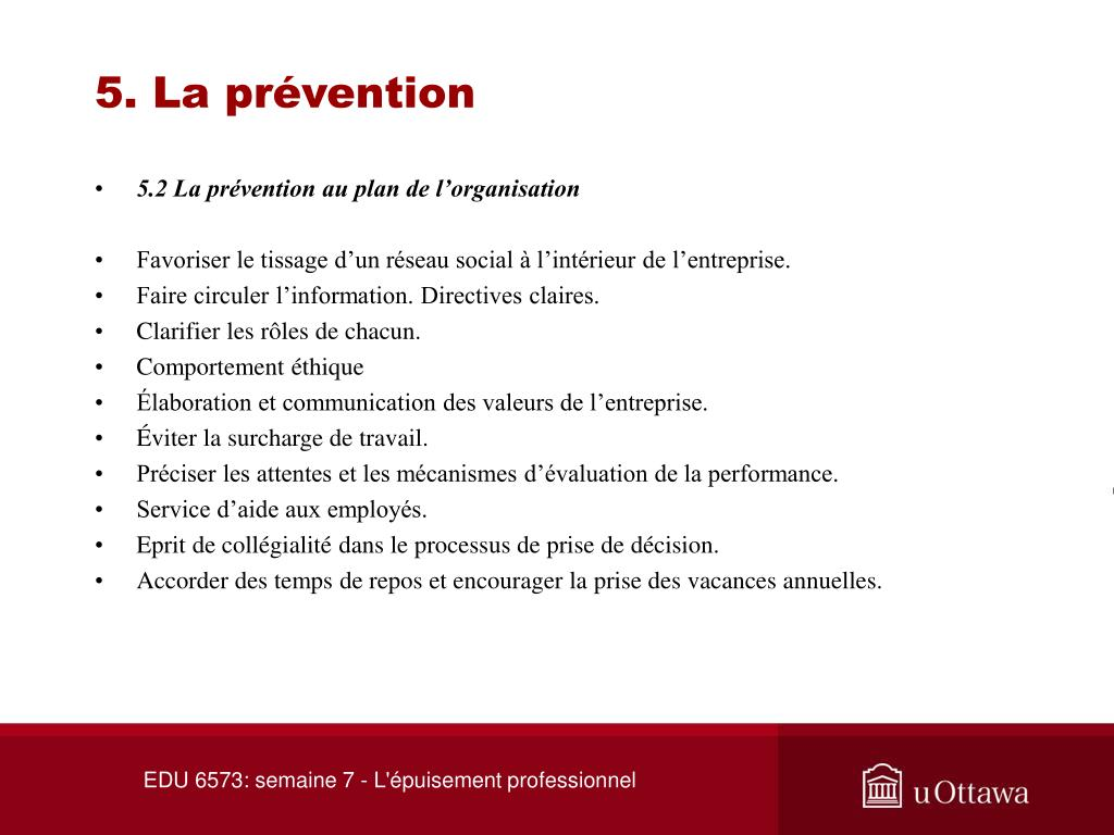 5. La prévention