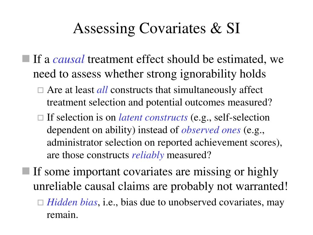 Assessing Covariates & SI