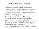 how to specify a ps model