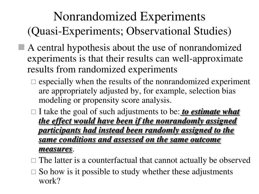 Nonrandomized Experiments