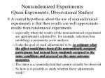 nonrandomized experiments quasi experiments observational studies