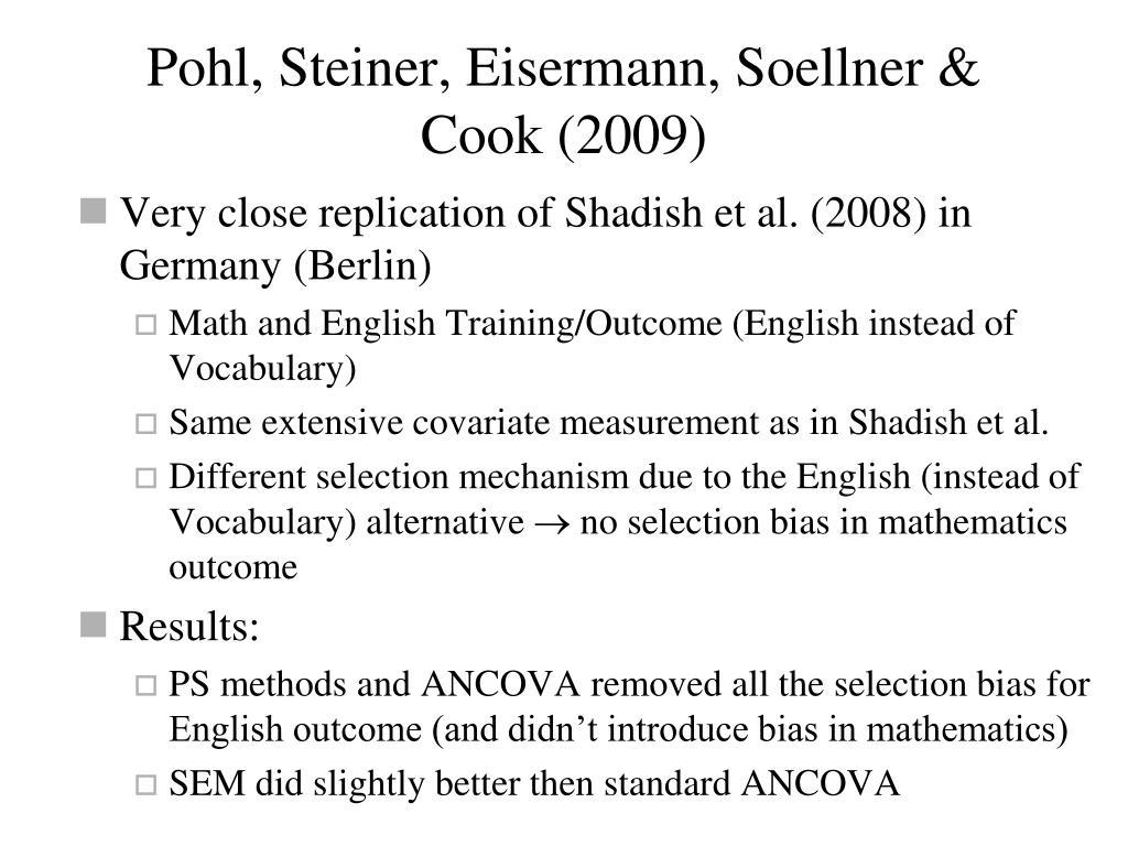Pohl, Steiner, Eisermann, Soellner & Cook (2009)
