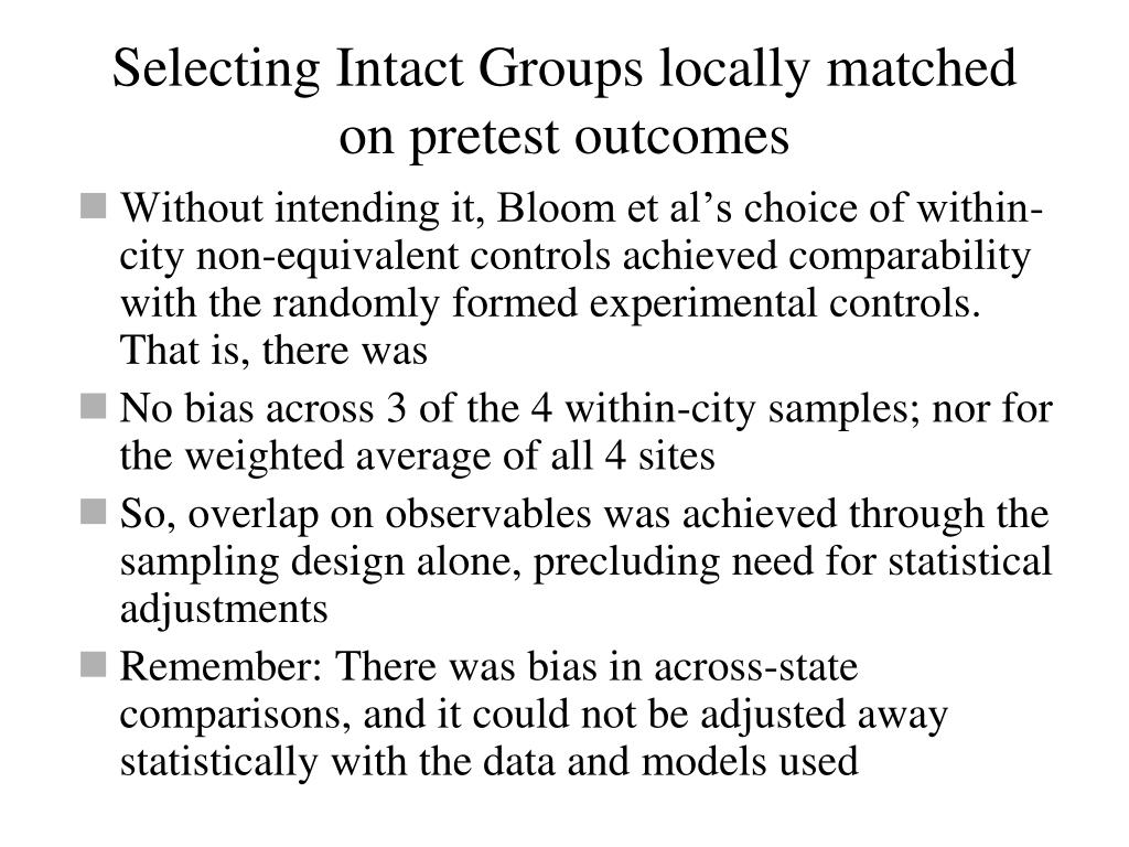 Selecting Intact Groups locally matched on pretest outcomes
