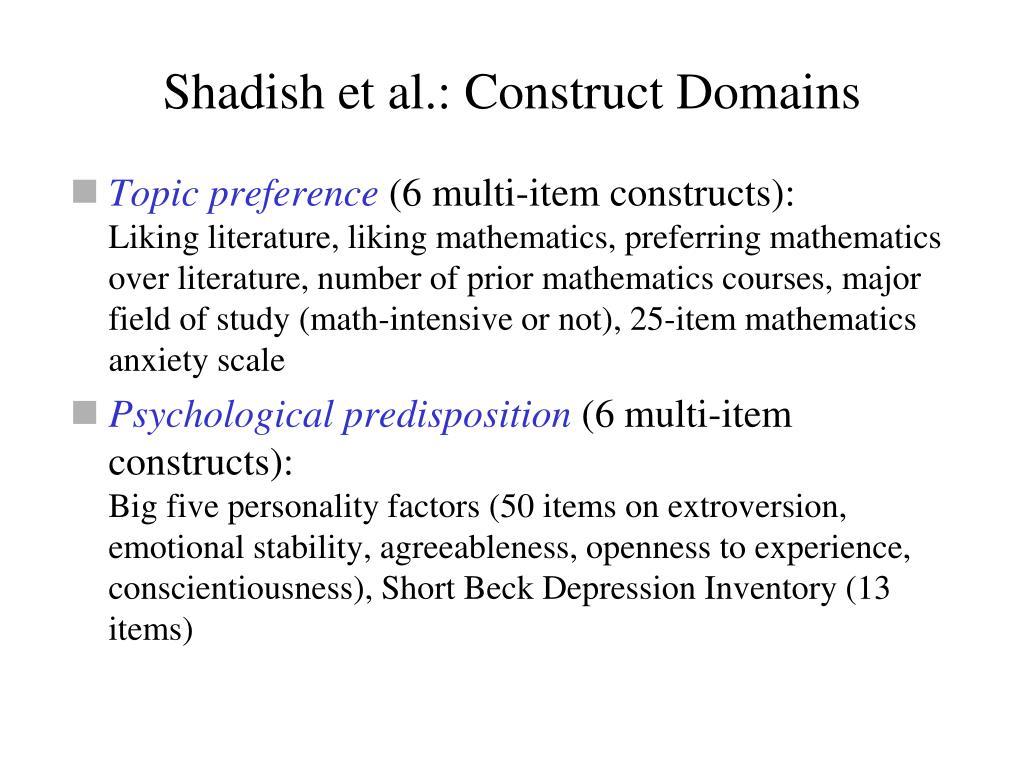 Shadish et al.: Construct Domains