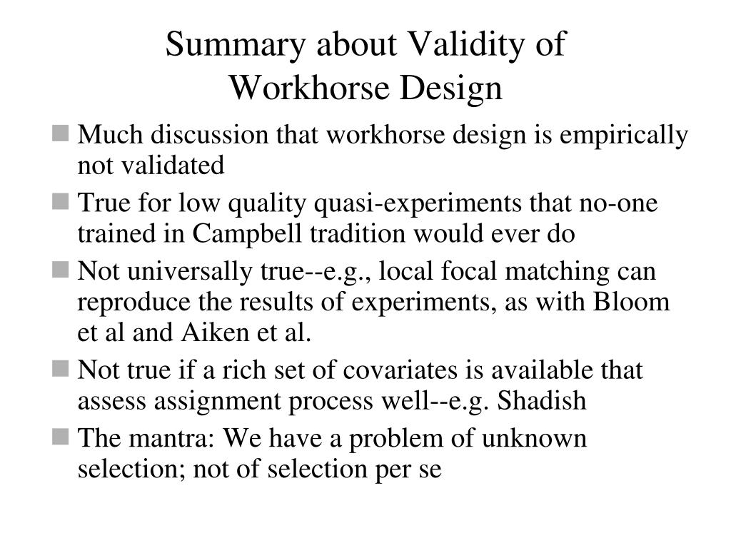 Summary about Validity of
