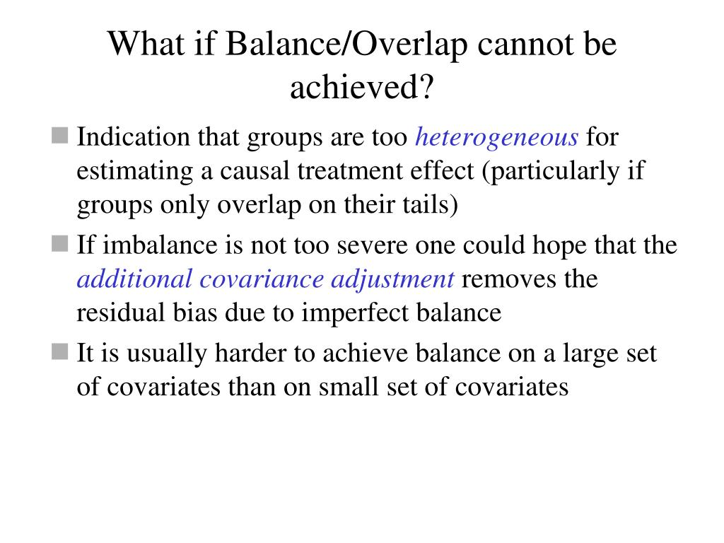 What if Balance/Overlap cannot be achieved?