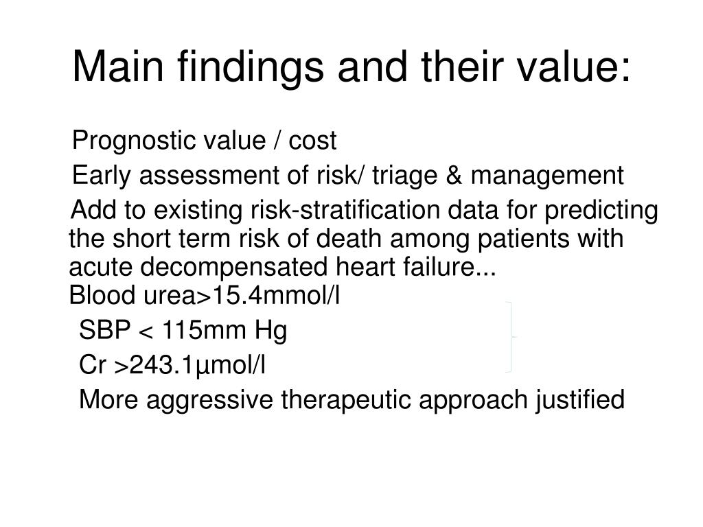 Main findings and their value: