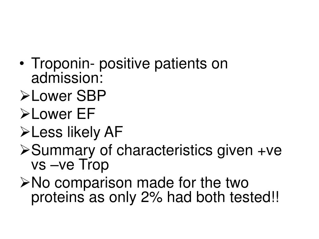 Troponin- positive patients on admission: