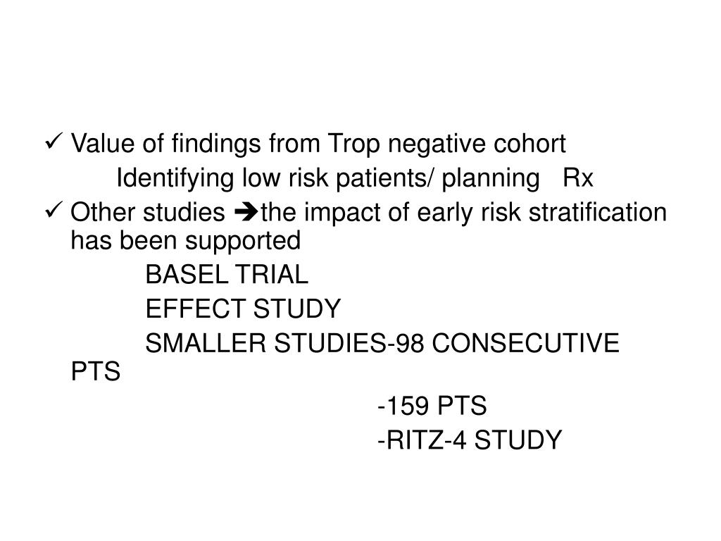 Value of findings from Trop negative cohort