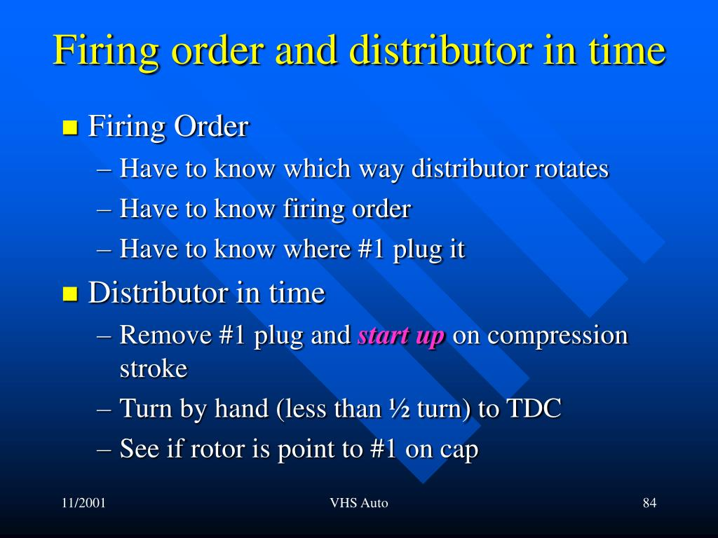 Firing order and distributor in time