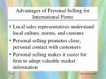 advantages of personal selling for international firms
