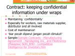 contract keeping confidential information under wraps