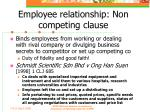 employee relationship non competing clause