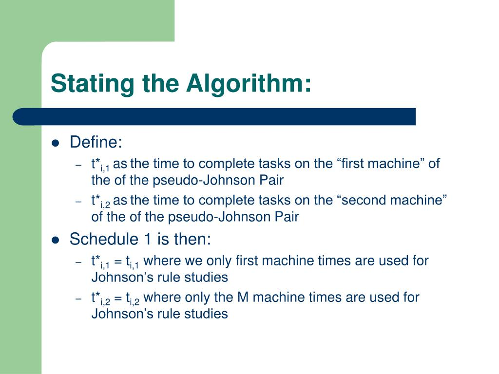 Stating the Algorithm: