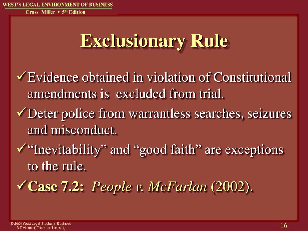 five exceptions to the exclusionary rule Explore the pros and cons of the debate the exclusionary rule in the united states  the court has created a good faith exception to the exclusionary rule, which.