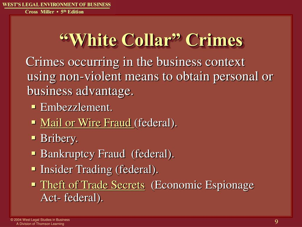 corporate criminal liability adn white collar crime The analysis becomes even more difficult when you add corporations into the mix and seek to determine what sentences deter corporate white-collar crimes federal judges have broad discretion in determining the appropriate punishment from white-collar defendants.