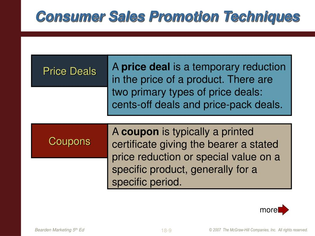 sales promotions techniques The occurrence and the choice of appropriate retail sales promotion techniques  are important decisions for retailers it is crucial for them to apprehend the.