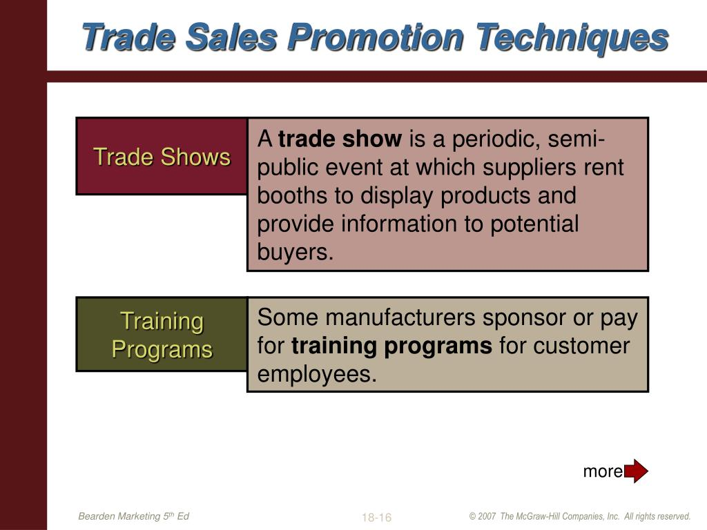 Sales trade promotion