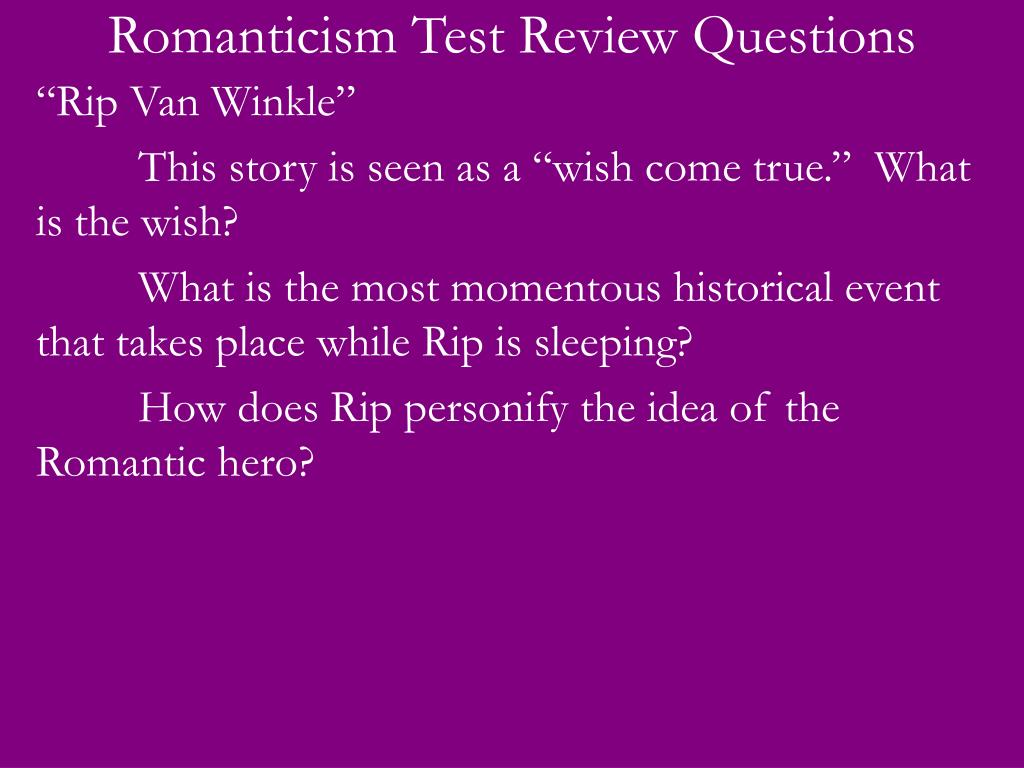 romanticism test review questions