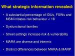 what strategic information revealed