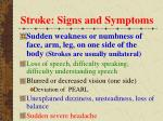 stroke signs and symptoms