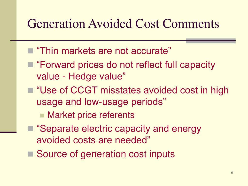 Generation Avoided Cost Comments