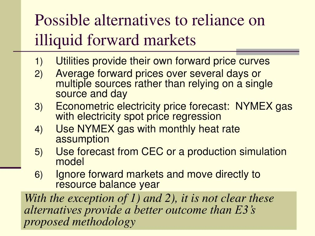Possible alternatives to reliance on illiquid forward markets