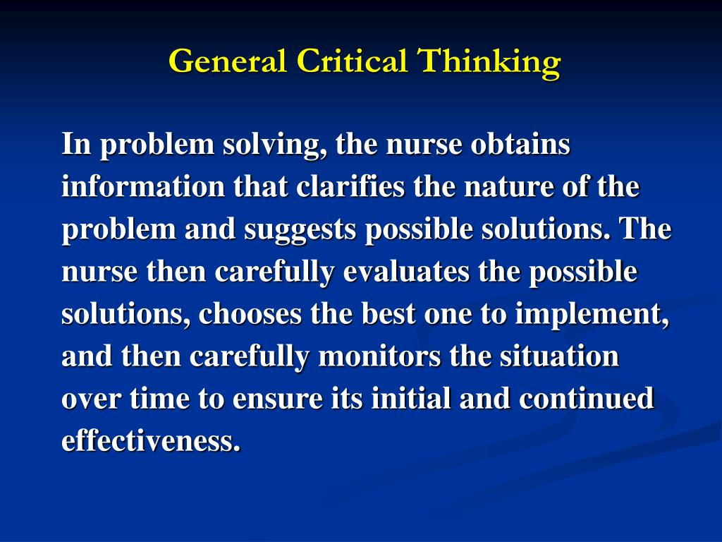 critical thinking problems and solutions Critical Thinking and Problem solving Essay