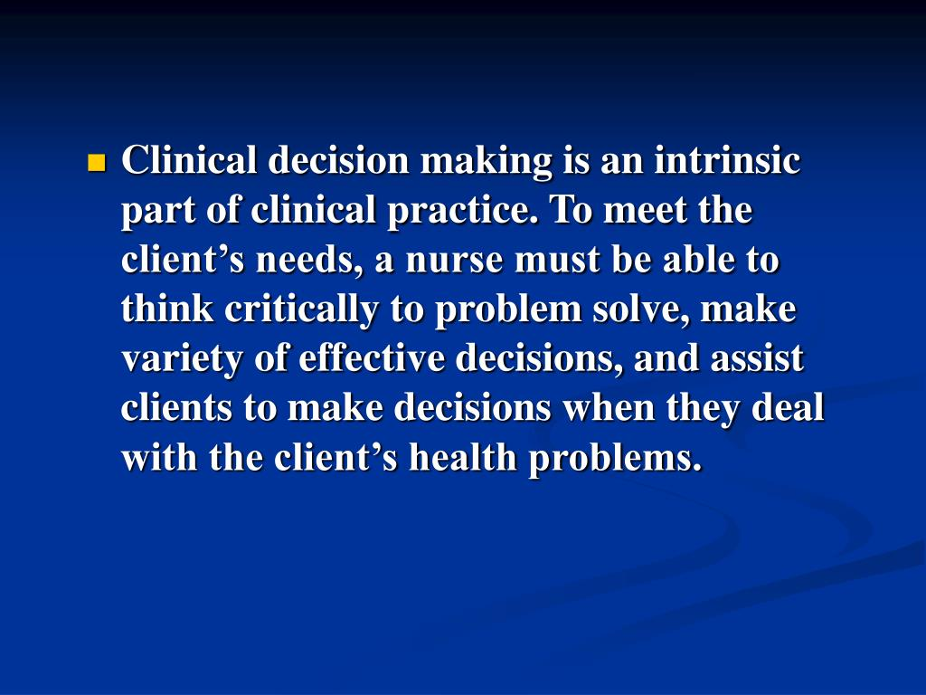 nursing practice decision making