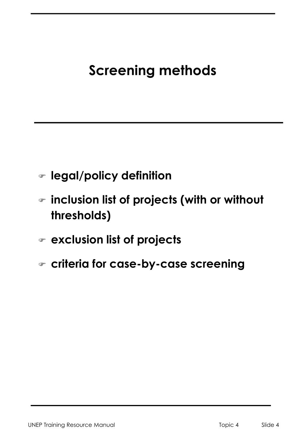 Screening methods