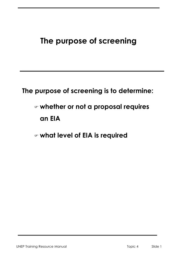 The purpose of screening l.jpg