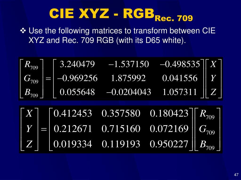 CIE XYZ - RGB