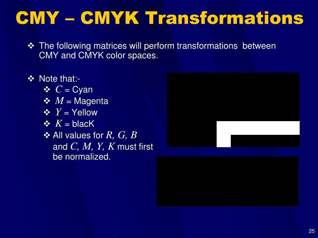 CMY – CMYK Transformations