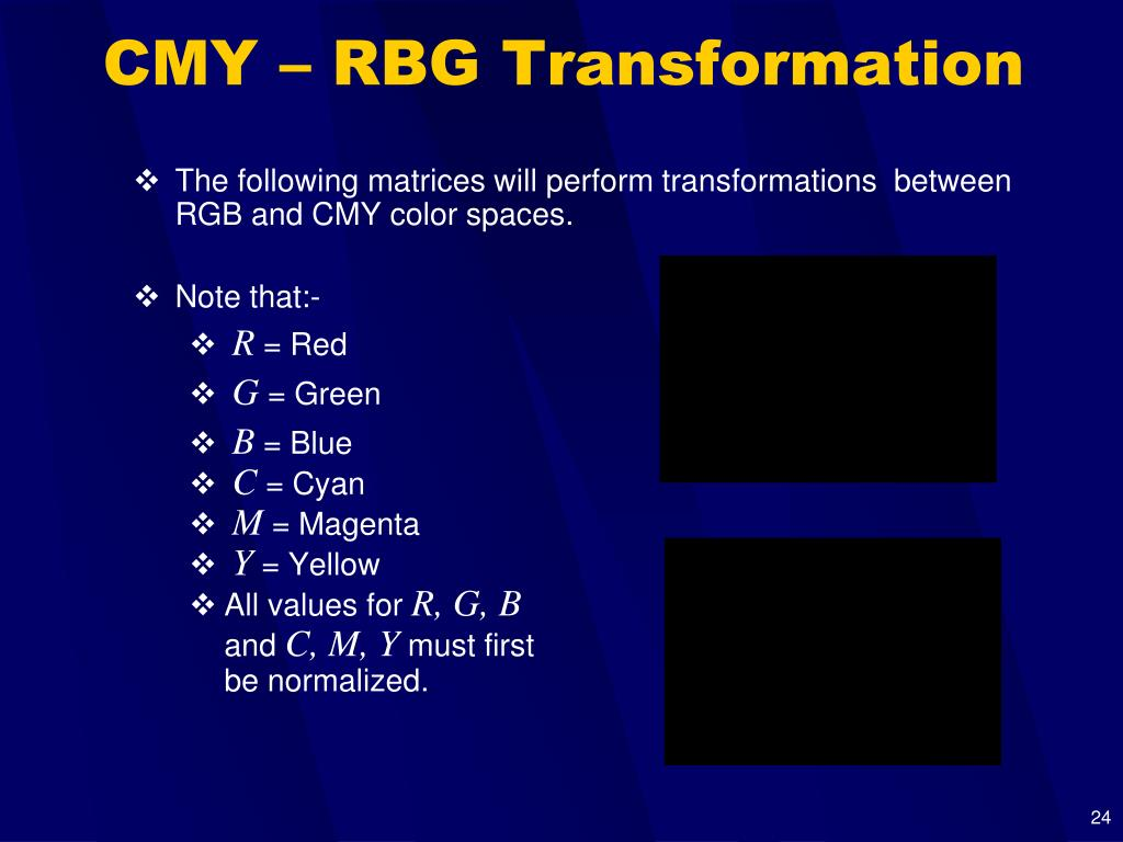 CMY – RBG Transformation