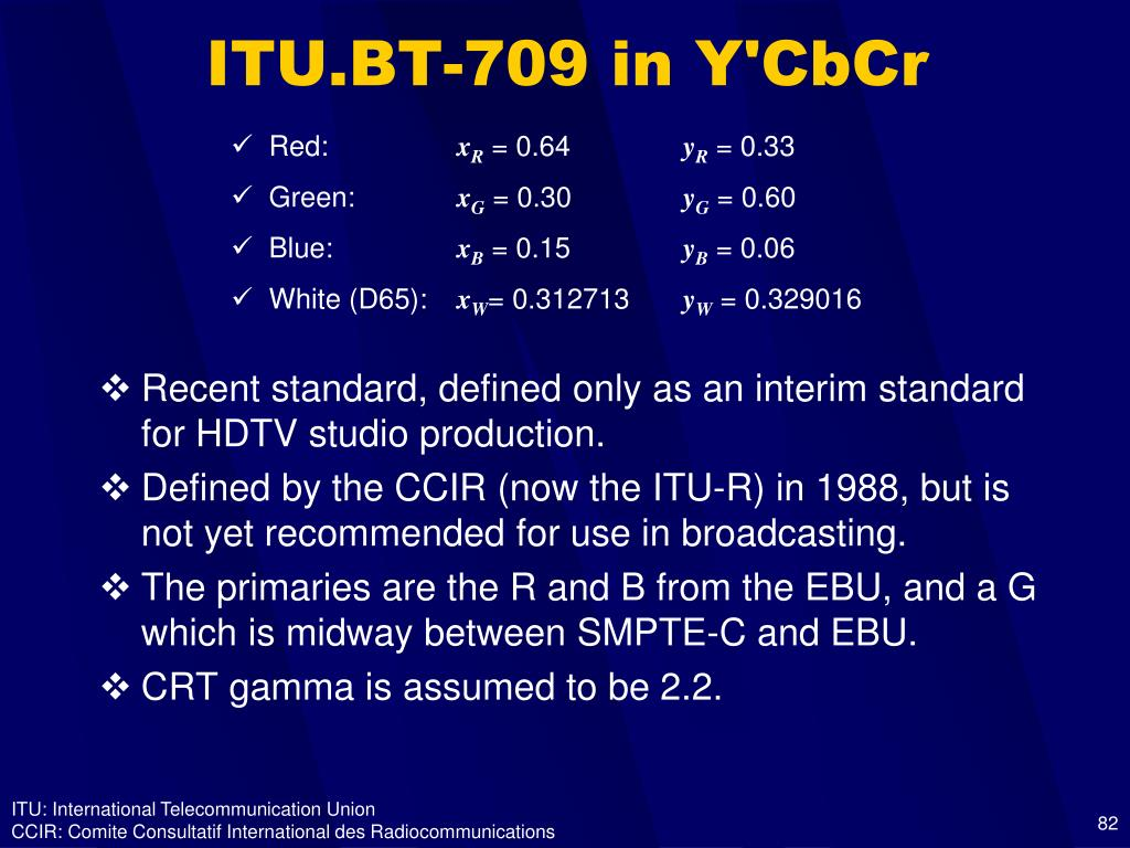 ITU.BT-709 in Y'CbCr