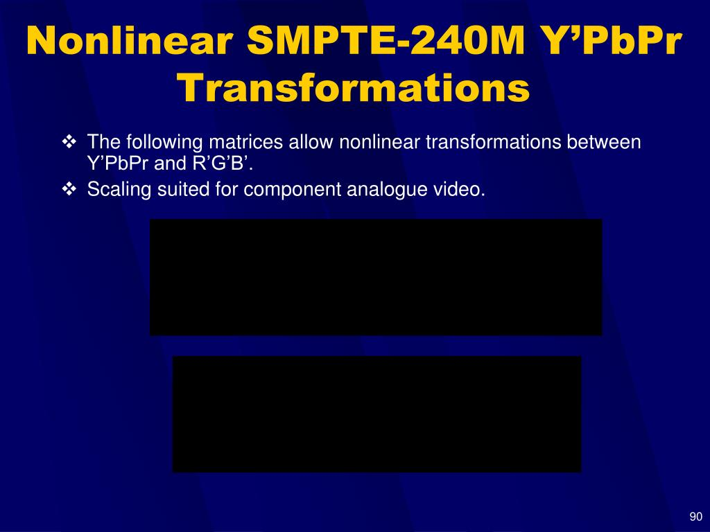 Nonlinear SMPTE-240M Y'PbPr Transformations