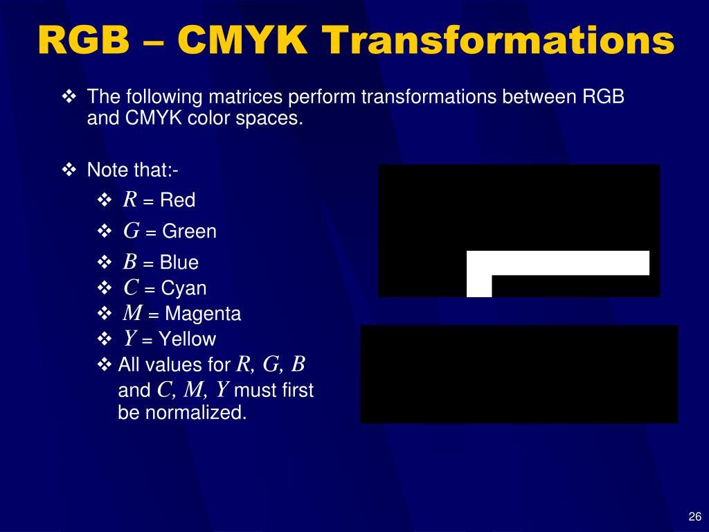 RGB – CMYK Transformations