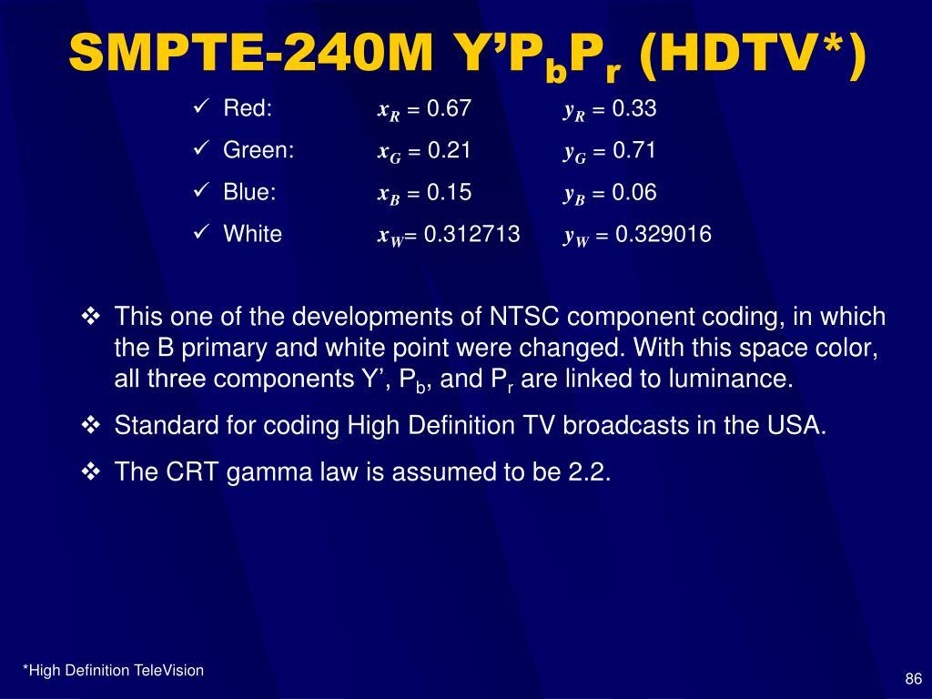 SMPTE-240M Y'P