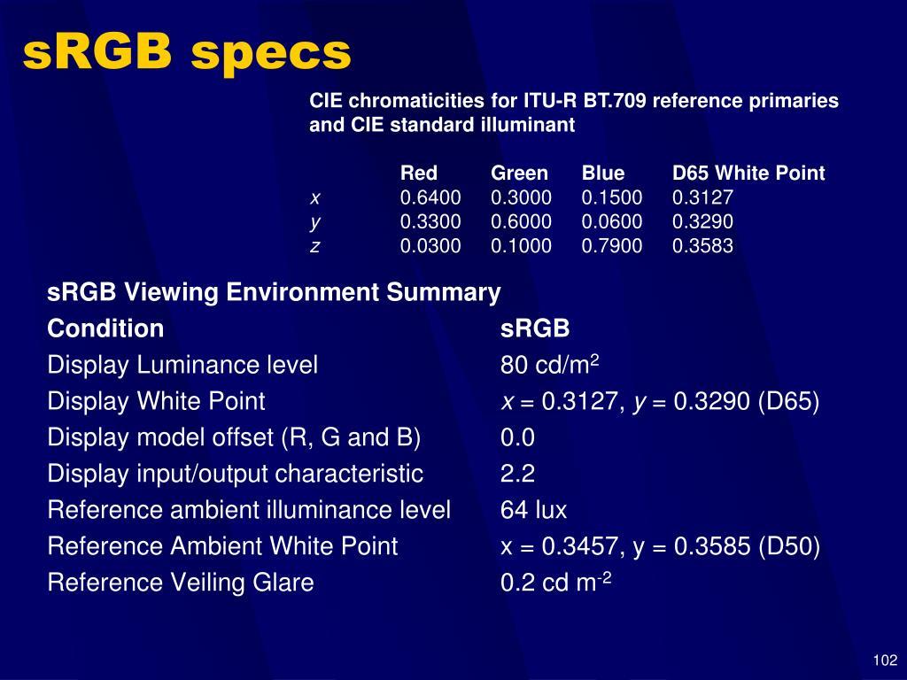 sRGB specs