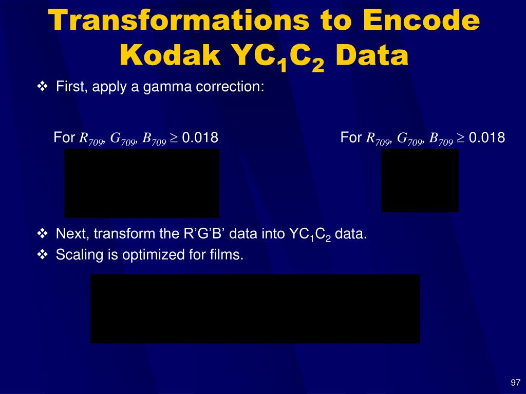 Transformations to Encode Kodak YC
