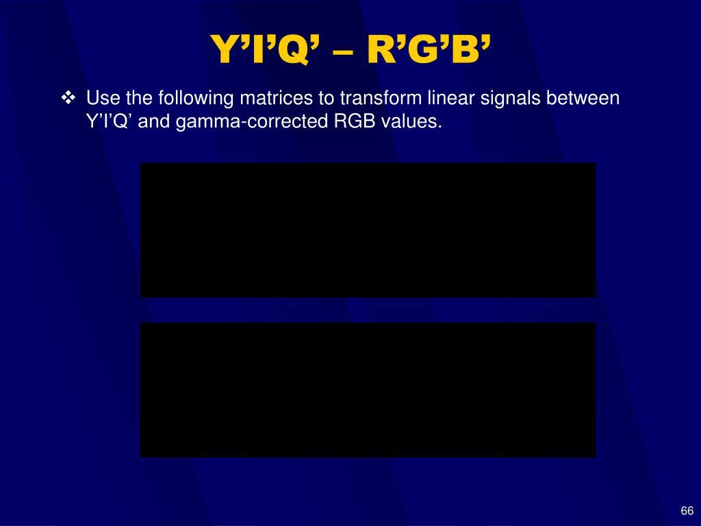 Y'I'Q' – R'G'B'