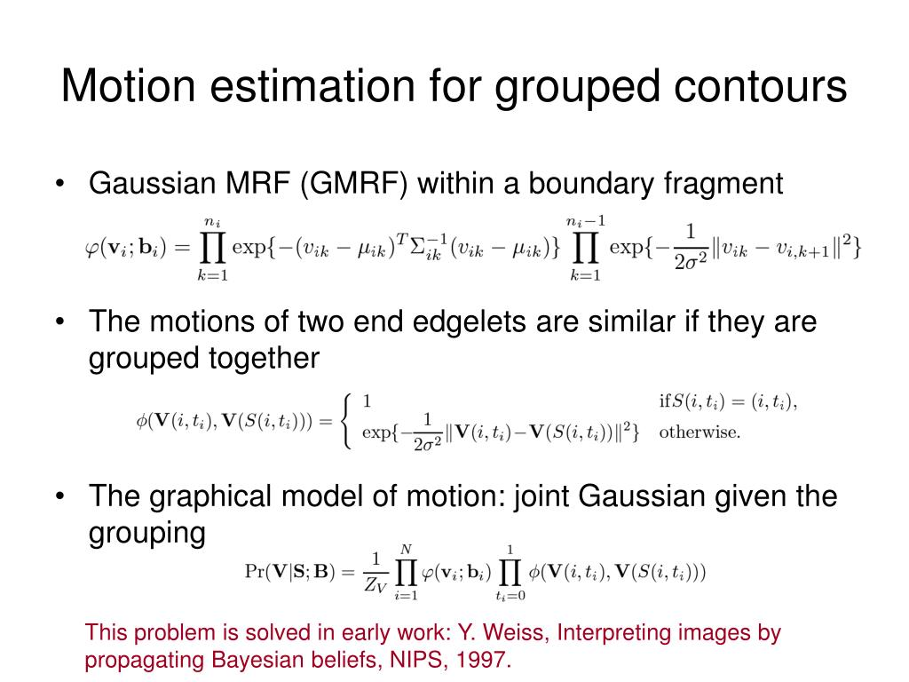 Motion estimation for grouped contours