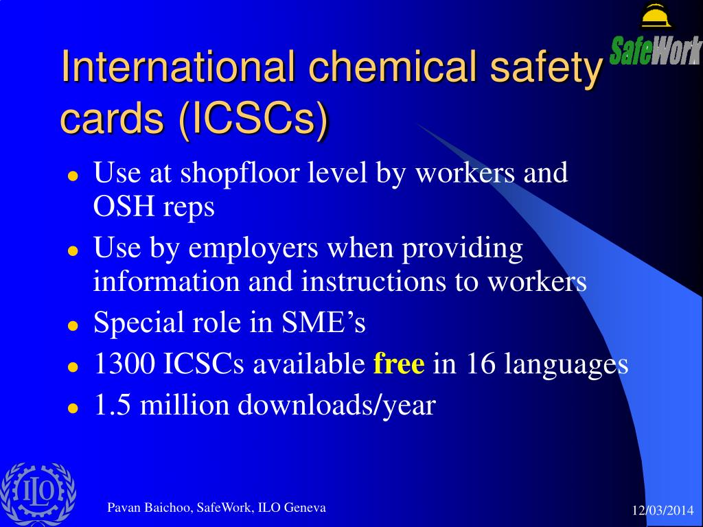 International chemical safety cards (ICSCs)