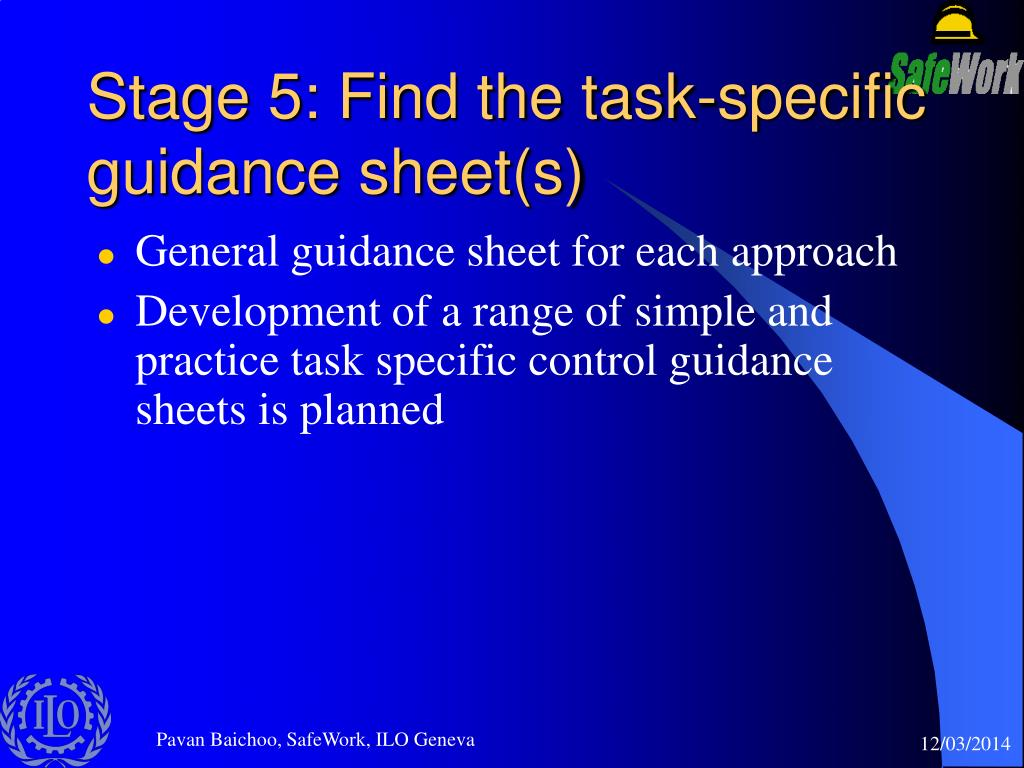Stage 5: Find the task-specific guidance sheet(s)